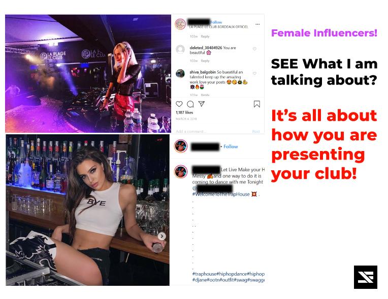 influencer promoting nightclub