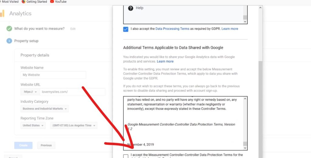 Accept terms in analytics web